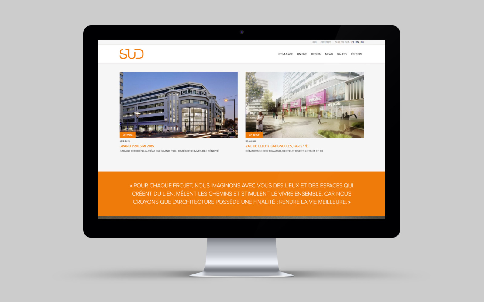 Sud Architectes site web desktop