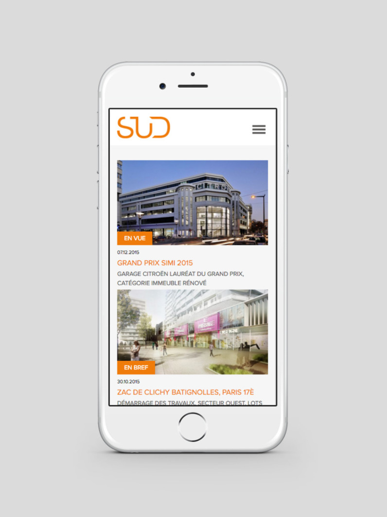 Sud architectes site web mobile