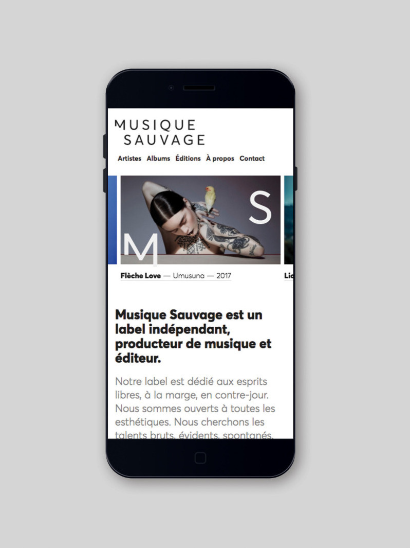 Musique Sauvage creation site web mobile